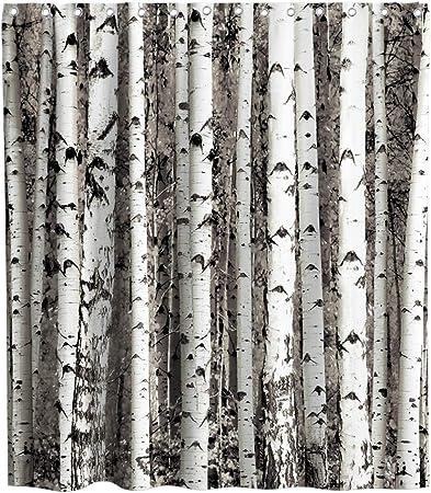 Birch Tree Shower Curtain Seasonal Woodland Print for Bathroom