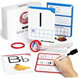GAMENOTE Dry Erase Alphabet and Number Flash Cards - Write and Wipe Laminated ABC Letter Tracing Practice Card for Kindergart