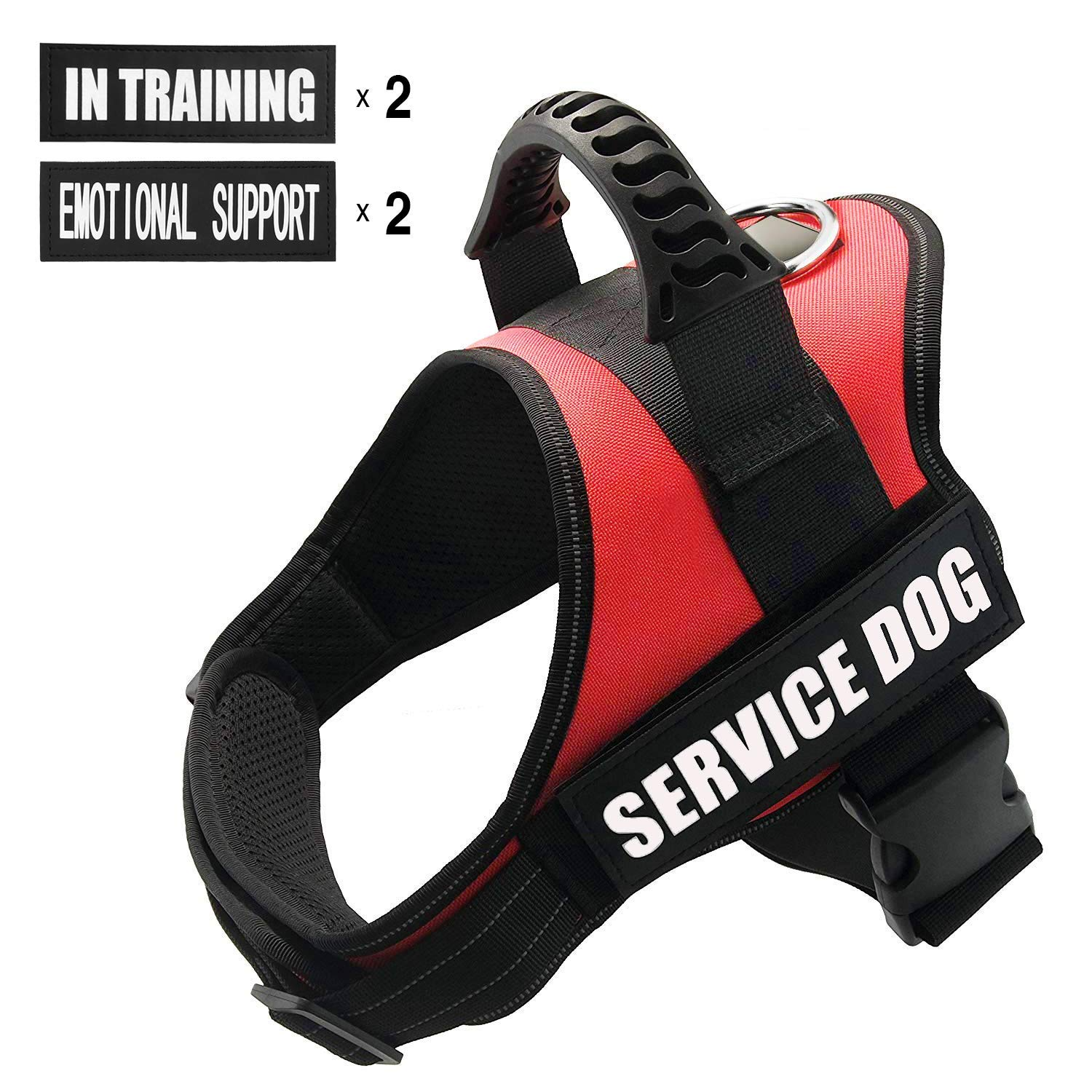 FAYOGOO Dog Vest Harness for Service Dogs, Comfortable Padded Dog Training Vest with Reflective Patches and Handle for Large Medium Small Dogs (Small: Chest 20-25'' Neck 16-20'', Red)