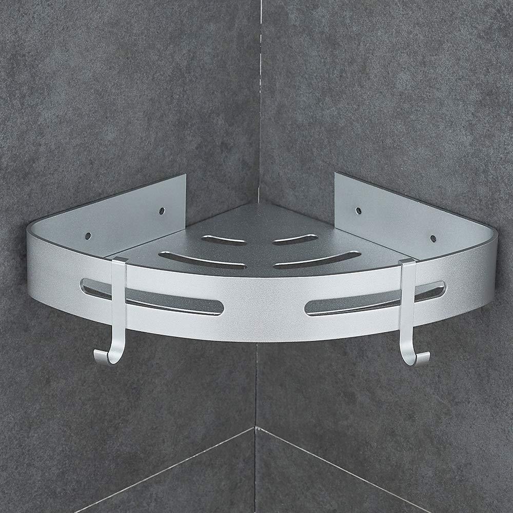 Hoomtaook Estanteria Baño Estantería de Esquina para Baño Ducha, Pegamento Patentado + Autoadhesivo, Aluminio, Acabado Mate, Estantes (plata 401) product image