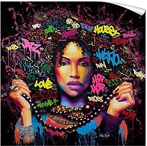 "FONWAPAI African Afro American Women Canvas Printing Framed Wall Art Paintings,Pop Art Wall Decor,Living Room Decorations(Hand,24""x24"",Unframed)"