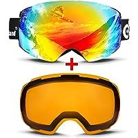 ODOLAND Occhiali da sci per adulti di Grosse sferica Snowboard Occhiali con lente intercambiabile magnetica & OTG (Over the Glass/per portatori di occhiali) protezione UV400u. anti-appannamento