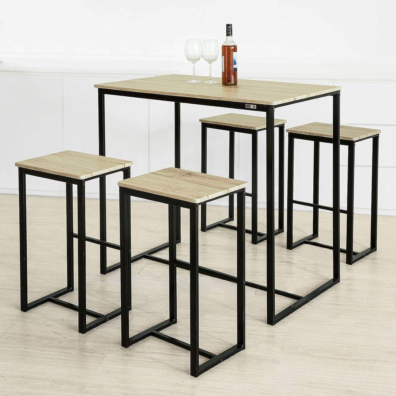 SoBuy/® OGT15-N Set de 1 Table 4 Tabourets de Bar avec Repose-Pieds Table Haute Cuisine Mange-Debout 4 Tabourets Ensemble Table de Bar Bistrot