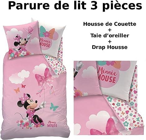 1 Housse de Couette 135 x 200 cm Disney Minnie Mouse Parure de lit pour Enfant Parure de lit pour Fille Motif Papillons 1 taie doreiller 80 x 80 100/% Coton