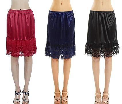 3cbb2dd7d207 Amazon.com: Women's Double Layered Lace Satin Skirt Extender Half ...