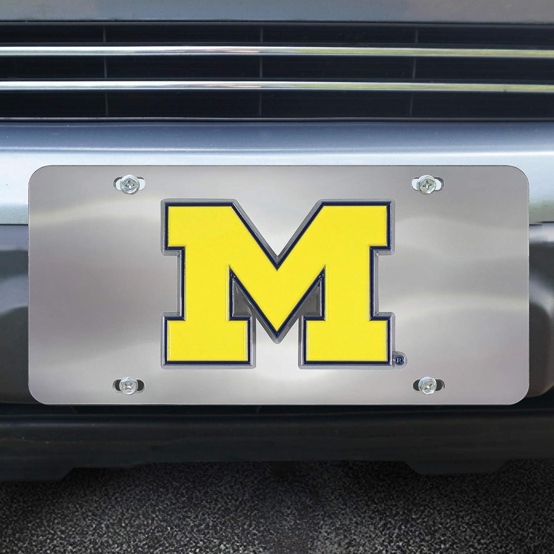 Michigan Wolverines 3D Logo Chrome License Plate