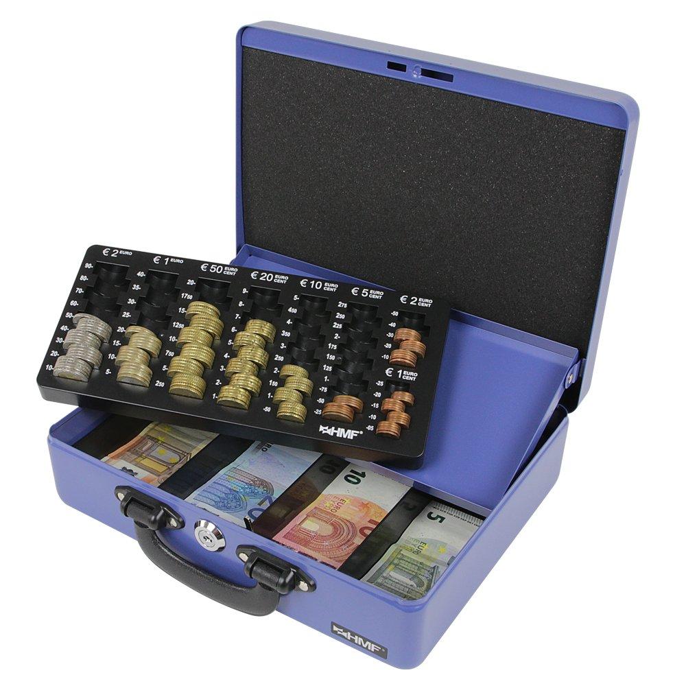 HMF 10026-02 Caja de caudales negra caja de dinero con bandeja de recuento de monedas 2 asas 30 /× 24 /× 9 cm