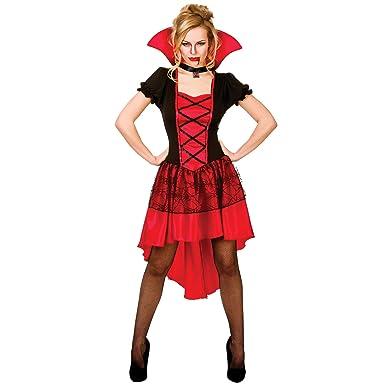 221e939e89a2e Ladies Black & Red Glamorous Vamp Vampire Horror Fancy Dress Up ...