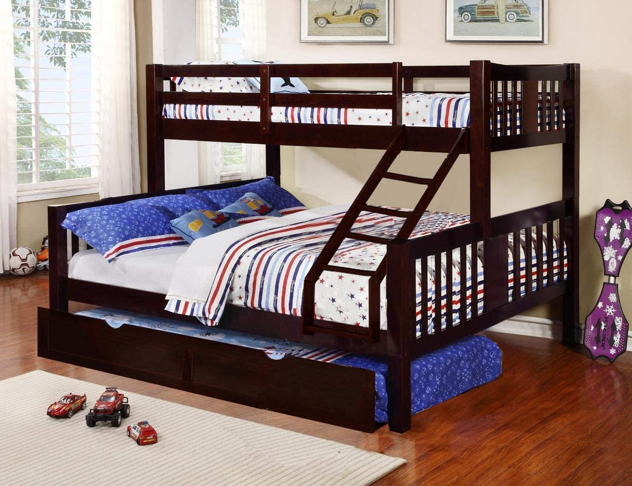 Aprodz Ashmo Espresso Twin Over Queen Bunk Bed with Trundle: Amazon.in: Home & Kitchen