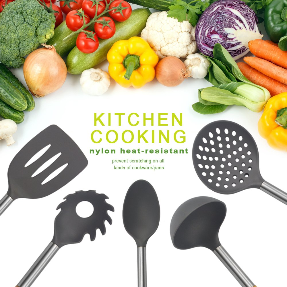 KALREDE Kitchen Utensils Set 5 Piece - Non Stick Nylon Cooking Utensils Set –Heat Resistant Kitchen Tools Set with Wooden Handle including Spatula, Pasta Server, Deep Ladle, Strainer and Spoon( Gray by KALREDE (Image #5)