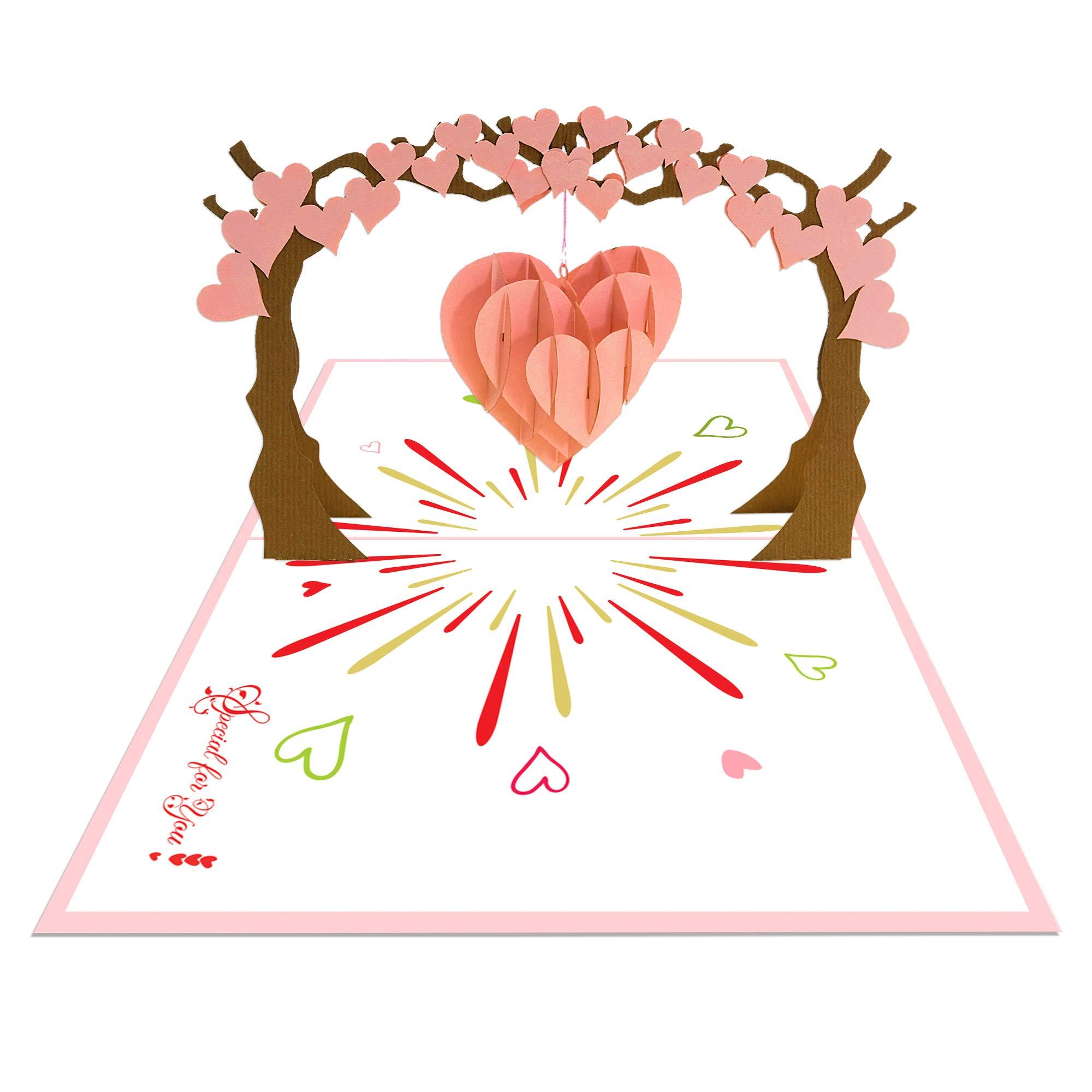 Ninrio 3D Card - Love Tree 3D Card - COMBO 5 PCS - Love 3D Card, Greeting Card, Pop up Card, Anniversary Card, Wedding 3D Card, Invitation Card, Birthday Card, Thank You Card, 3D Card (5) by Ninrio