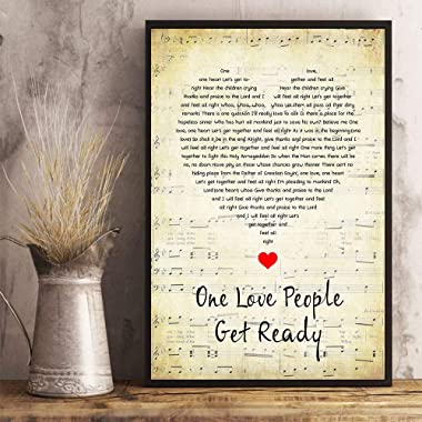 BabyLionStore One Love People Get Ready Lyrics Song Poster Heart Shape Posters Bob Lovers Marley-Fan Gift