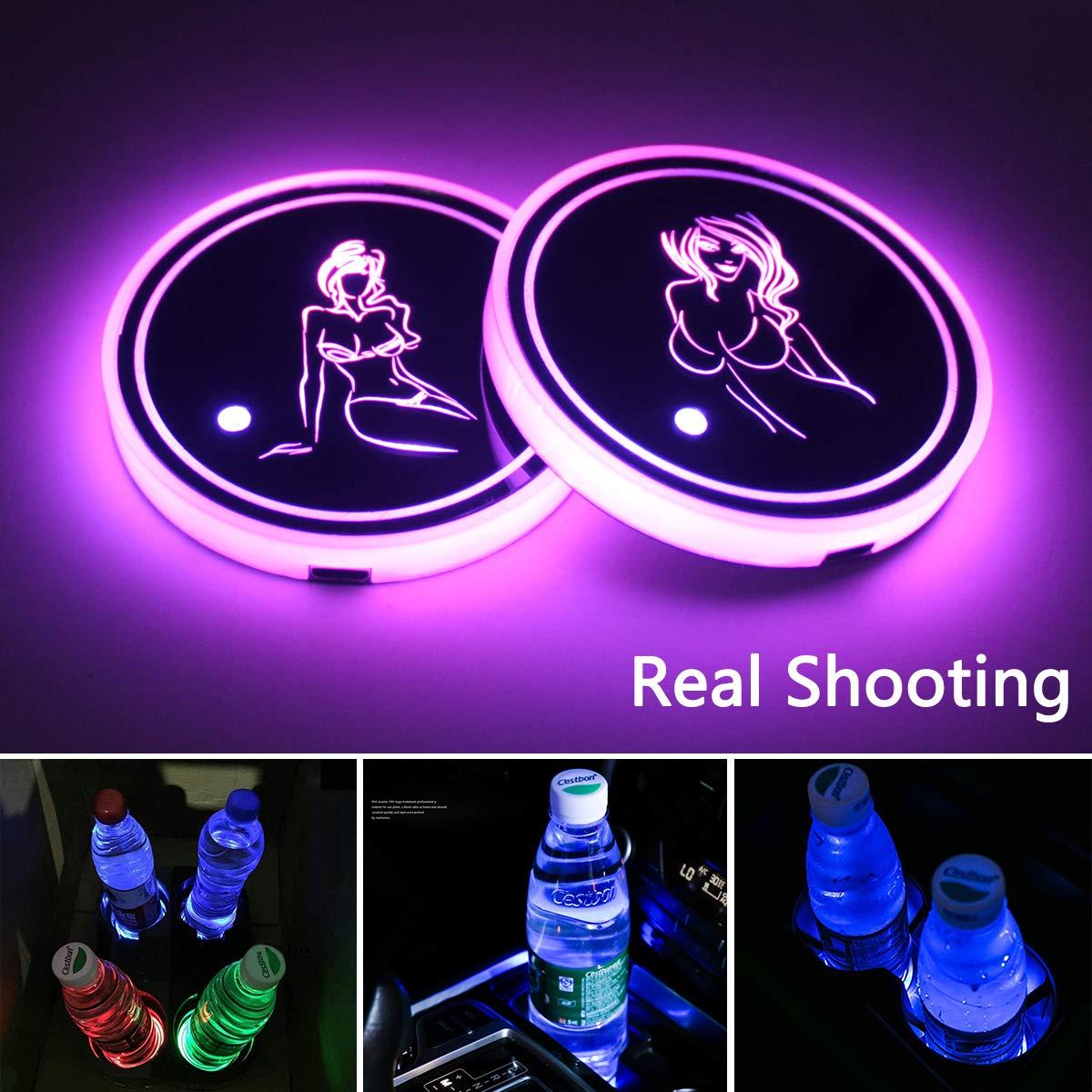 Alfombrilla de Carga USB 7 Colores cambiantes Almohadilla luminiscente Car-tools 2 Luces LED para portavasos de Coche l/ámpara LED de Ambiente Interior