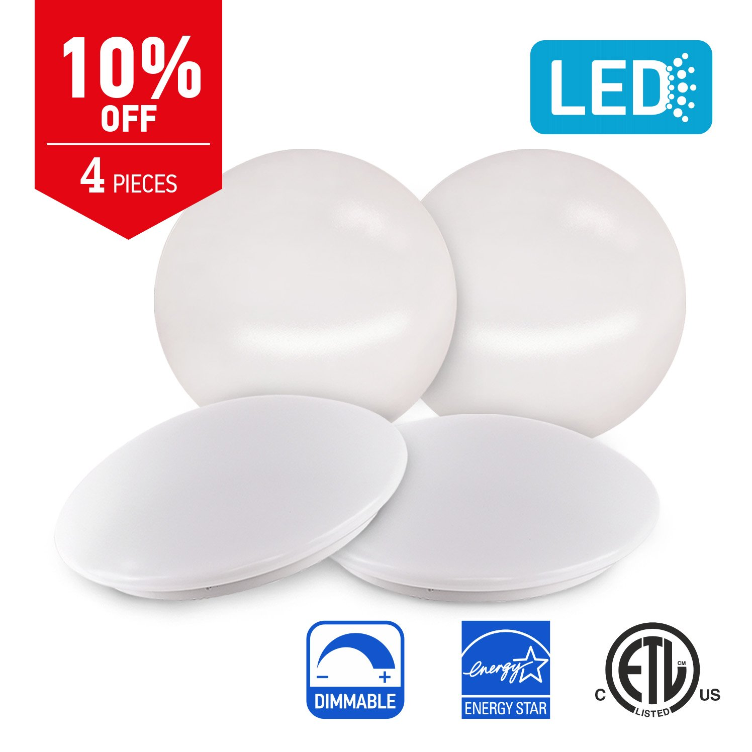 IN HOME 14-inch LED Flush mount Ceiling Light MS Series 25W (125W equivalent), Dimmable, 4000K (Bright white), 2028 Lumens, White Finish with Acrylic white shade, (4 pack) ETL and ENERGY STAR listed by IN HOME