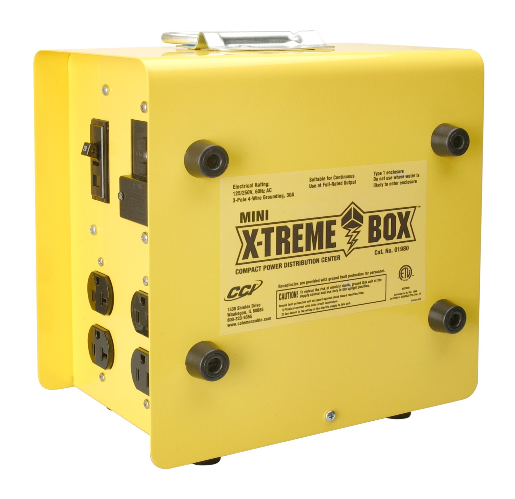 Southwire 19800102 Mini X-Treme Box Portable Temporary Power Distribution Box, Converts (1) L14-30P to (8) 5-20R by Coleman Cable