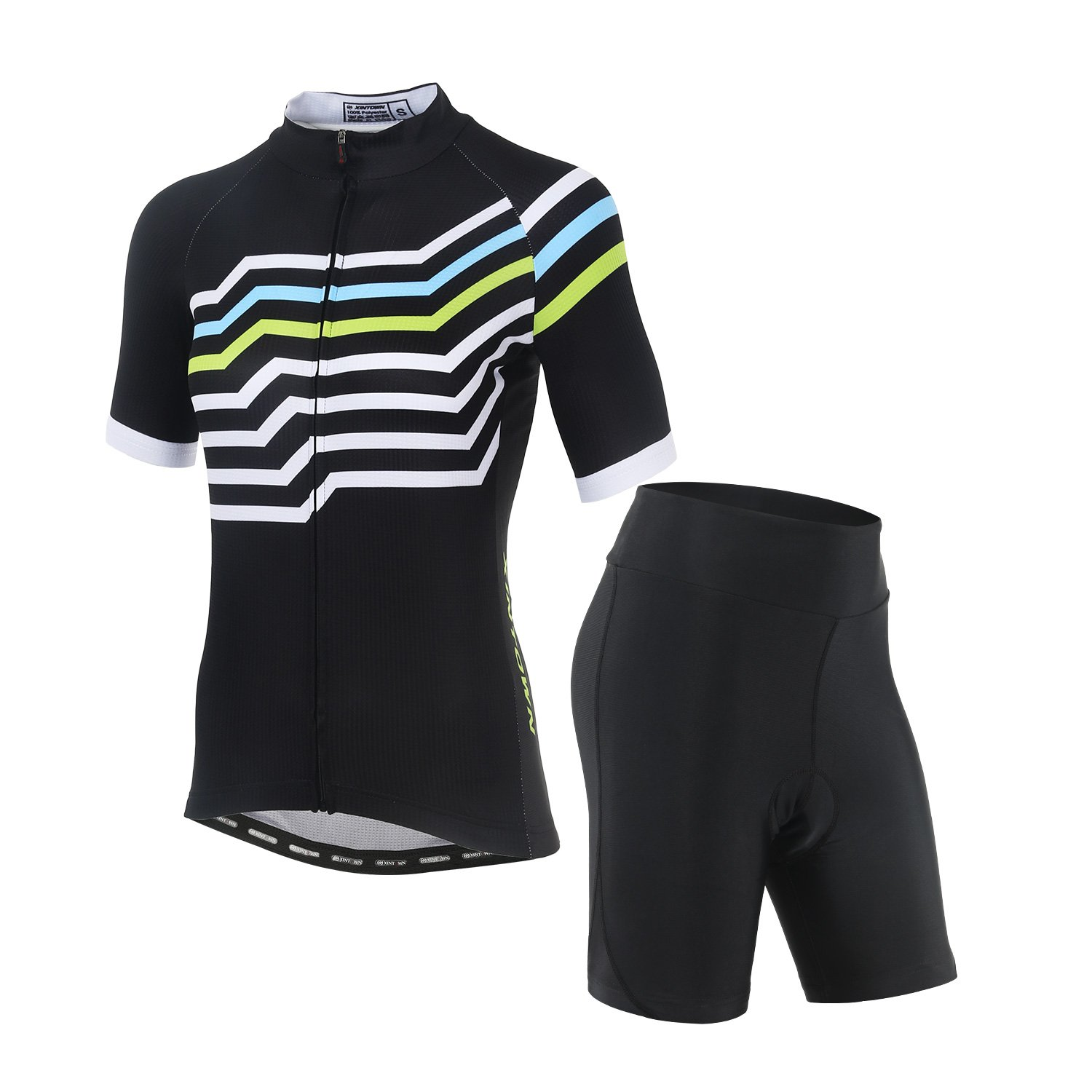 DuShow Women's Short Sleeve Cycling Jersey/Bicycle Top and 3D Padded Shorts Set (S, Stripe) by DuShow