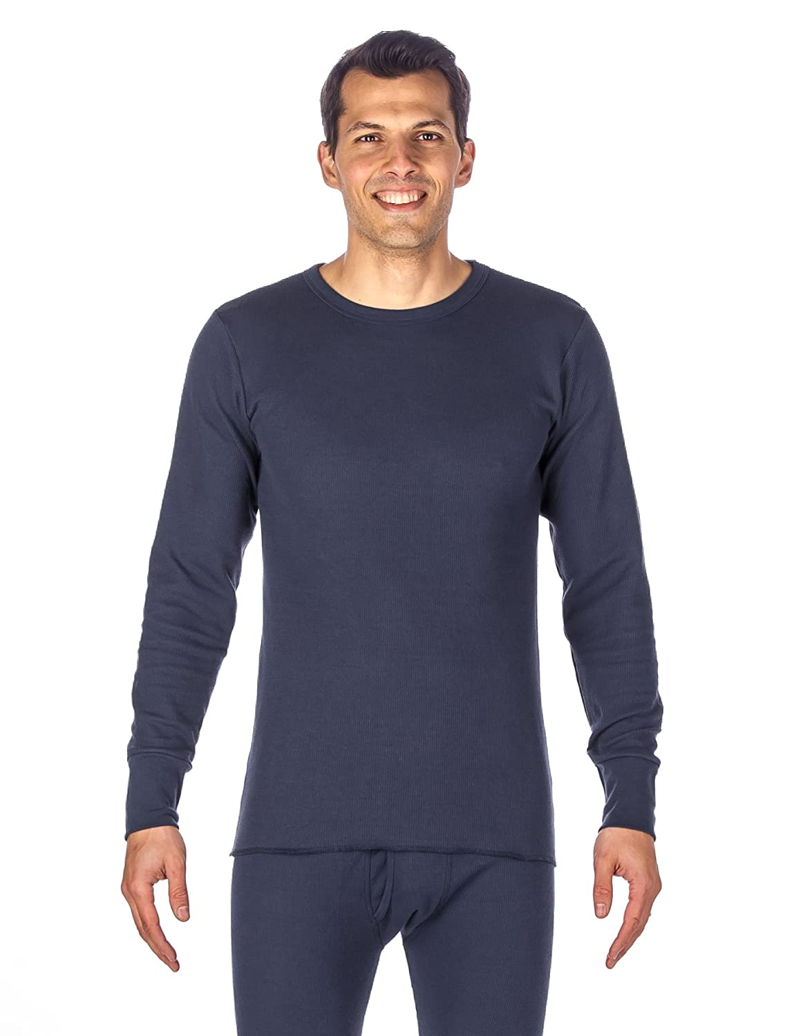 Noble Mount Men's Classic Waffle Knit Thermal Crew Top