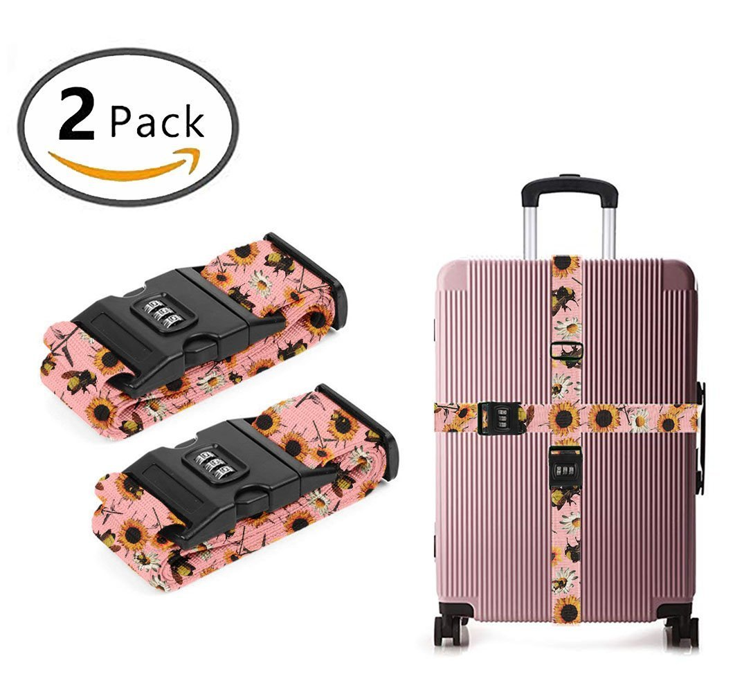 YEAHSPACE 2PC Set Bee Sunflowers Summer Luggage Straps TSA Approved Lock Suitcase Belts Travel Tags Accessories
