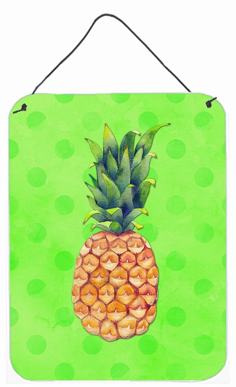 Carolines Treasures Pineapple Green Polkadot Metal Print 16hx12w Multicolor