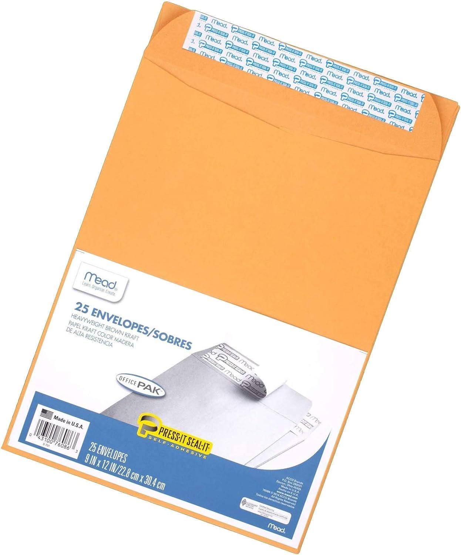 25-Pack New Press-It Seal-It Office Pack Self Adhesive Mead Envelopes Brown Kraft 9 x 12 76086