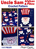 Crochet Pattern 4th of July Uncle Sam Afghan and Pillow Set PB109