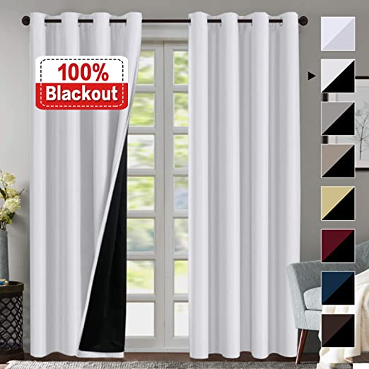 Amazon.com: 100% Blackout White Curtains for Bedroom 84 Inches
