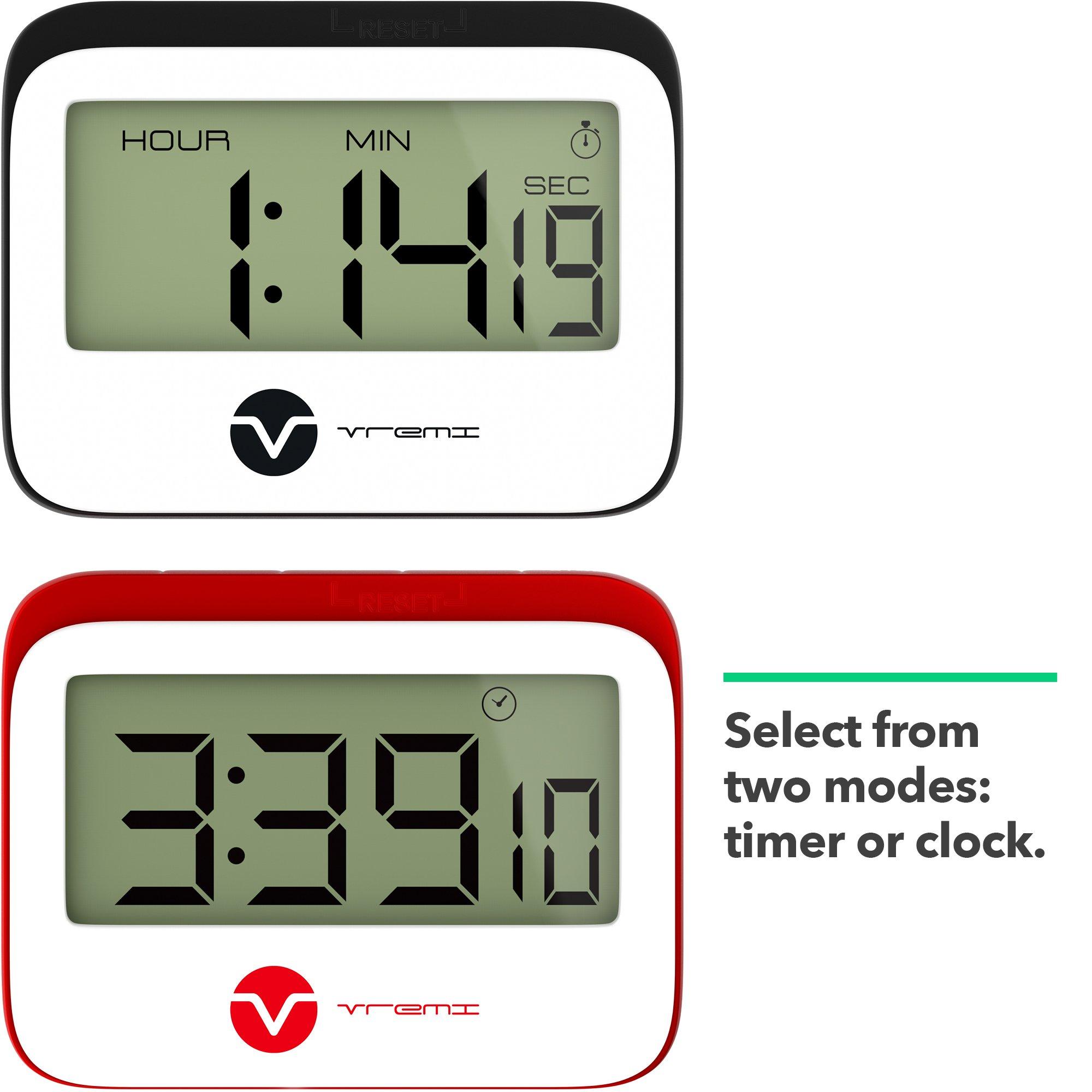 Vremi Digital Kitchen Timer - Magnetic Clock Loud Alarm Large Hour ...