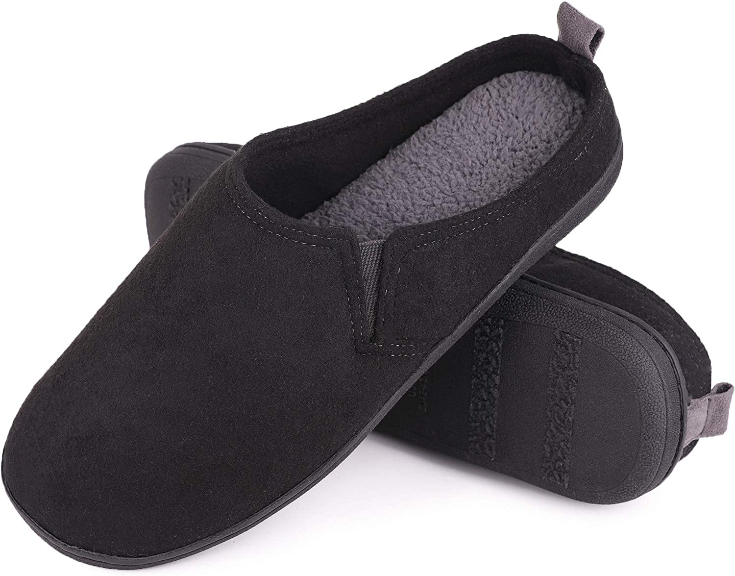Mens Warm Plush House Slippers Memory Foam Home Slippers with Elastic Band for Indoor