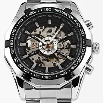 amazon com cool watches for men skeleton mens black automatic cool watches for men skeleton mens black automatic mechanical sport wrist watch stainless steel band