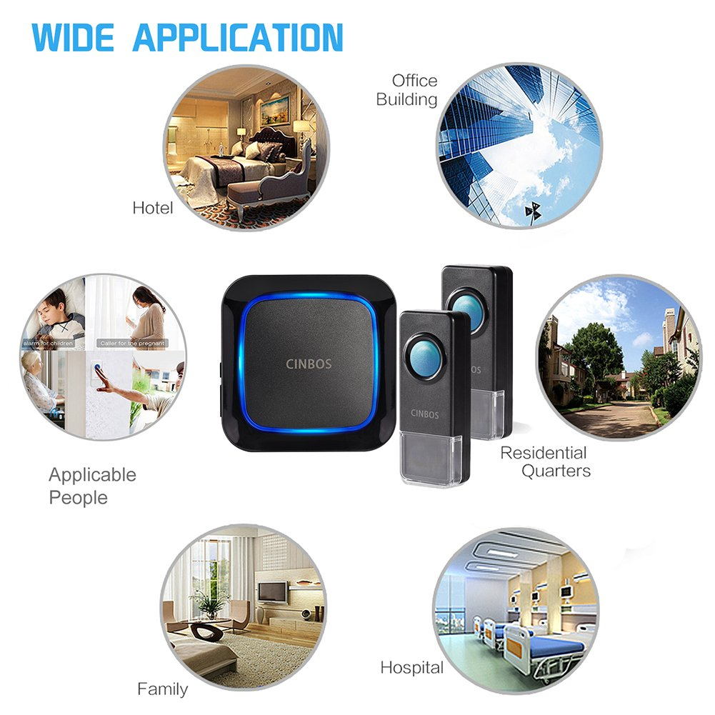 Wireless Doorbells Kit Cinbos Wireless Doorbell for Home LED Light with 1 Receiver and 2 Remote Push Buttons Waterproof,1000 Feet Long Range, 52 Chimes, 4 Levels Volume (B21-2T1-B) by Cinbos (Image #6)