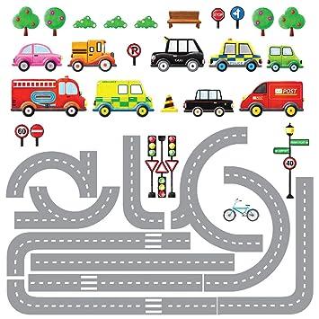 Wandtattoo Auto Kinderzimmer   Decowall Dw 1204 10 Transporte Autos Fahrzeuge Mit Strassen