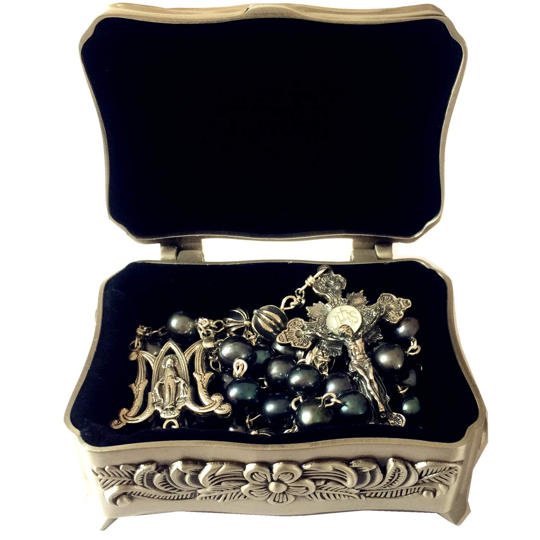 elegantmedical Black Pearl Bali Sterling Silver Cross Beads Rosary Necklace Mans Womens by elegantmedical
