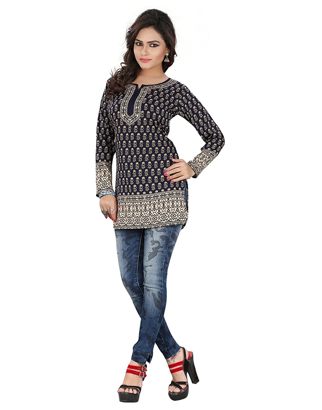 Polyester Blue Indian Tunic Top Bollywood Women Short Full Sleeve Kurti Kurta Webdeal Services
