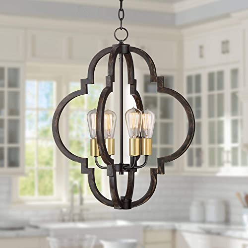 Ayoura Wood Grain Pendant Chandelier 20 Wide Moroccan Frame LED Edison 4-Light Fixture for Dining Room House Foyer Kitchen Island Entryway Bedroom Living Room – Barnes and Ivy