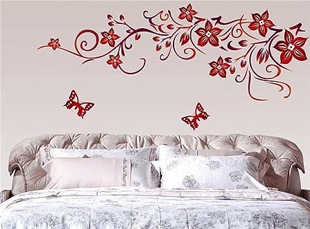 Stickers Murali Camera Da Letto.Ufengke Fiore Rosso Della Vite E Farfalle Adesivi Murali Camera