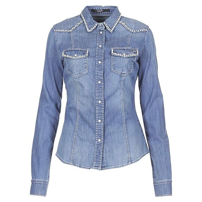 GUESS Camisa Vaquera Perlas (XS - Azul)