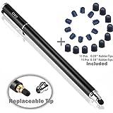 B&D スタイラスペン ペン先交換式タッチペン 2in1 ペン+20pcs交換用ペン先 タッチスクリーン対応(ブラック)