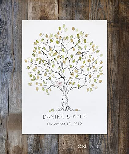 Original Wedding Guest Book Rustic Wedding Fingerprint tree Wedding Guest Book Alternative Medium Jacaranda Tree Design thumbprint tree