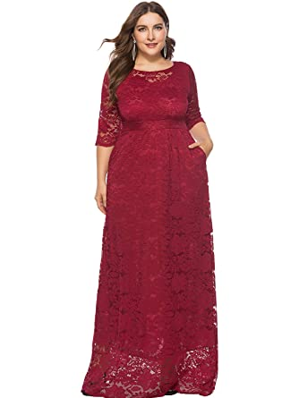IHouse Women Plus Size Lace Formal Dress for Wedding Bridesmaid at ...