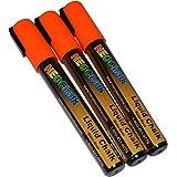 NeoChalk Liquid Chalk Marker Chisel Tip - Neon Orange - Set of 3 Markers