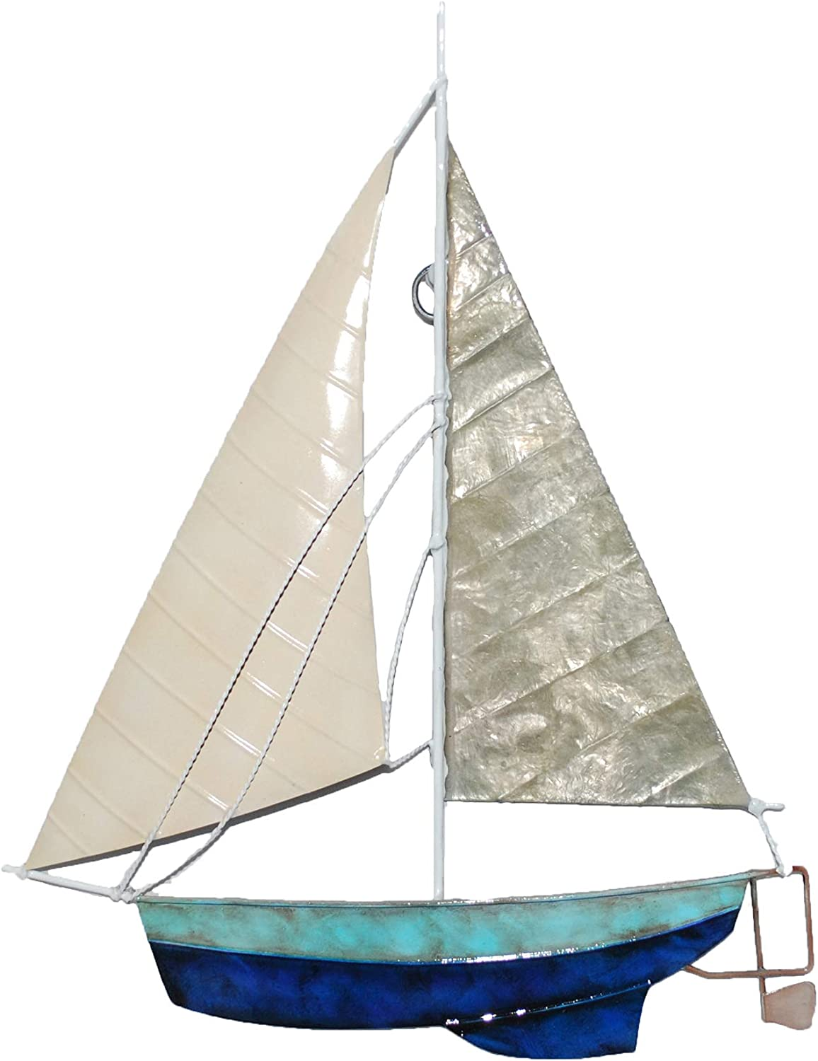 Eangee Home Design Sailboat Wall Decor Tan And Gray 8 Inches Length x 1 Inch Width x 11 Inches Height (m8038)