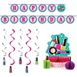 Sparkle Spa Party Supplies Decorations Bundle: Centerpiece, Ribbon Banner, and Dizzy Danglers