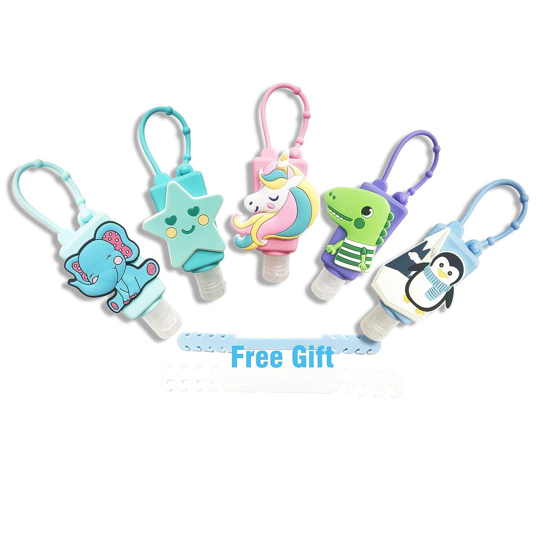 Hand Sanitizer Holder Keychain for Backpack Empty Hand Sanitizer Travel Size Holder Keychain 30ML Cartoon Fun Bundle 5 PACK Flip Cap Reusable Leak Proof Squeeze Bottles