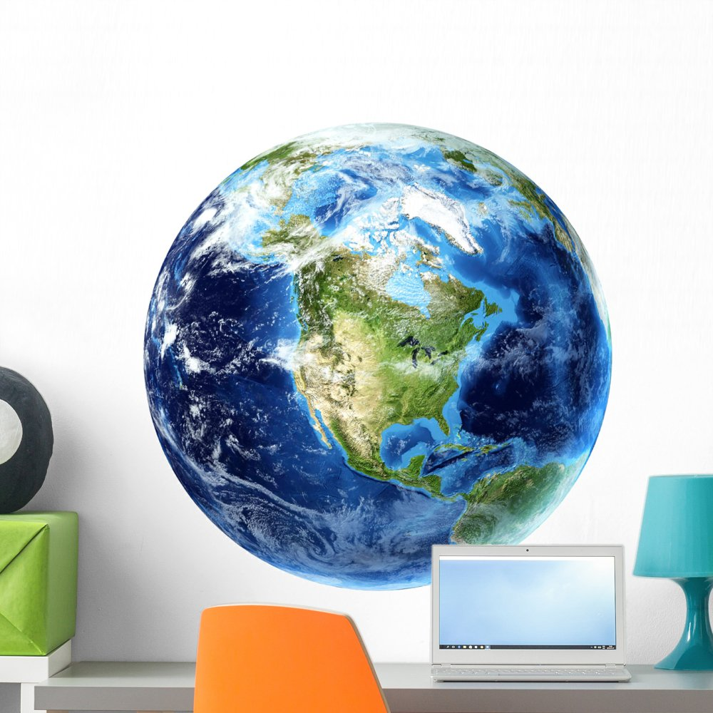 Wallmonkeys 3D Rendering Planet Earth Wall Decal Peel and Stick Outer Space Graphic (24 in H x 24 in W) WM250517