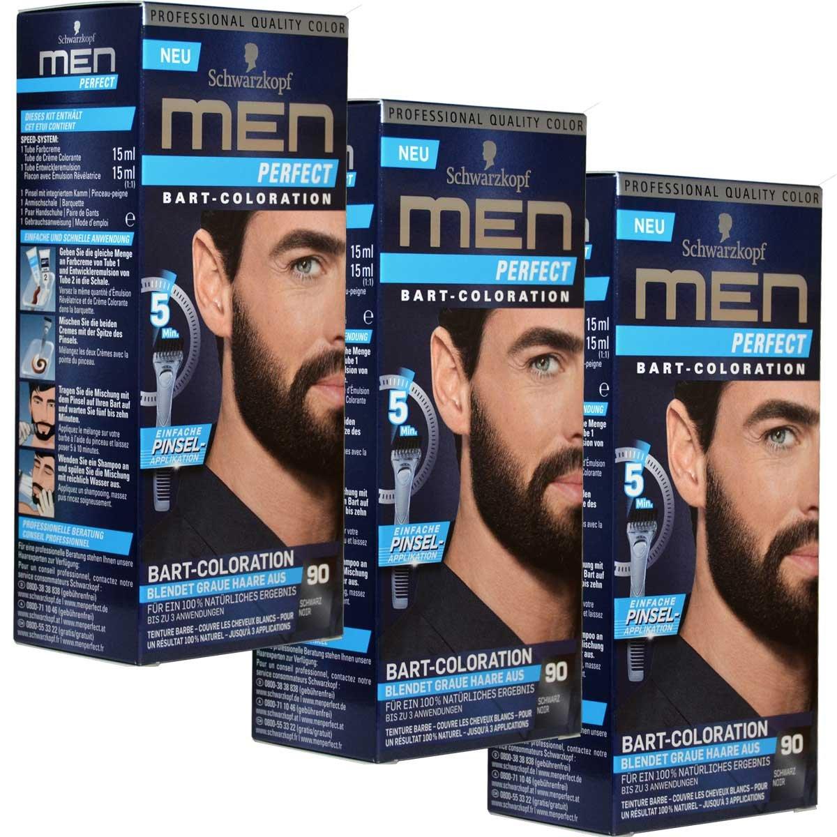 3x Schwarzkopf MEN PERFECT Bart-Coloration, 90 Schwarz Schwarzkopf & Henkel
