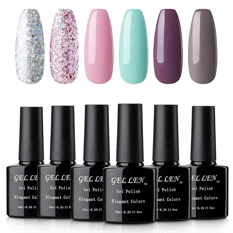 Amazon Com Gellen Gel Nail Polish 6 Colors Set Glitters And Solid Nail Art Colors Collection Uv Led Soak Off Nail Gel Polish Kit Beauty