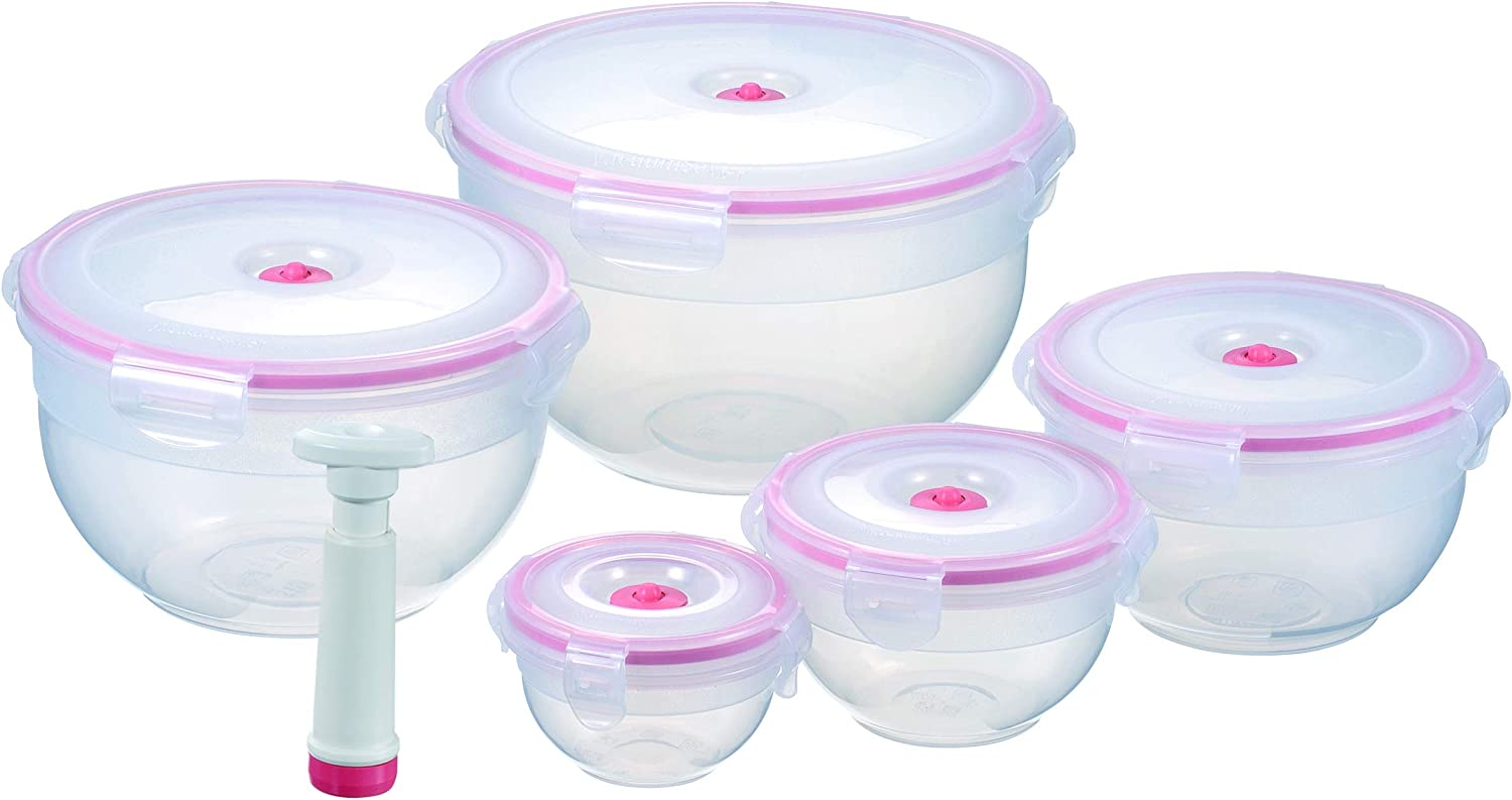 Vacuum Seal Food Storage Containers - Hand Held Vacuum Food System - Quick Marinator - Round Bowl - 11Pc - Coral Color