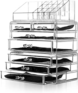 Unique Home Acrylic Jewelry and Cosmetic Storage Makeup Organizer Set, 3 Pieces, Clear 3 Count