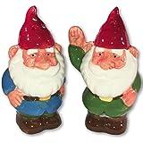 Garden Gnome Waving Ceramic Salt and Pepper Set