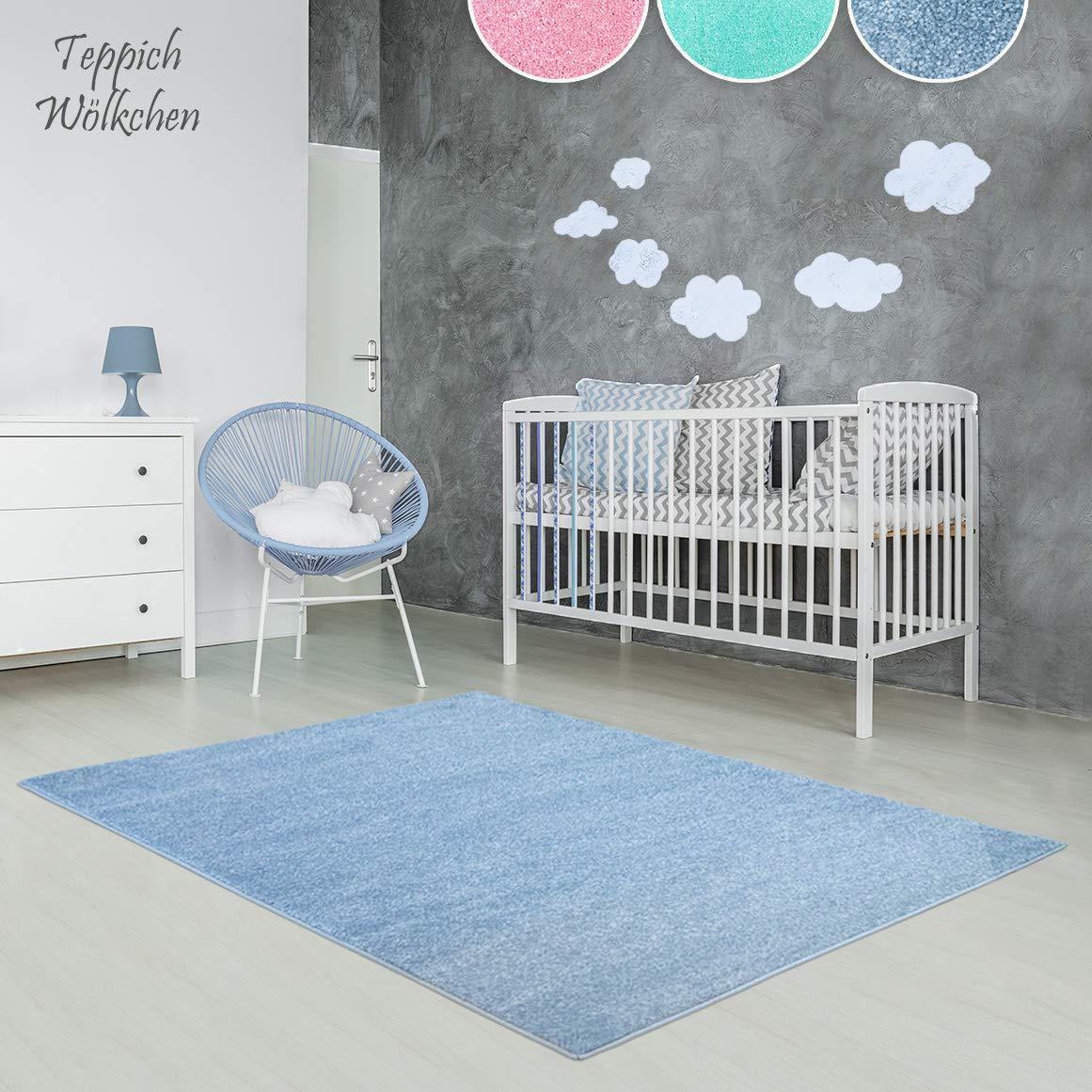 Kinder-Zimmer-Teppich im bunten Wolken Design oder Uni Farben   rund oder rechteckig   Ideal für Jungen, Mädchen oder im Baby-Zimmer   Ökotex Zertifiziert (Blau, 140 x 200 cm)